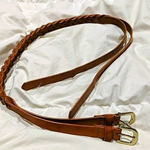 Women's braided tan double buckle belt.